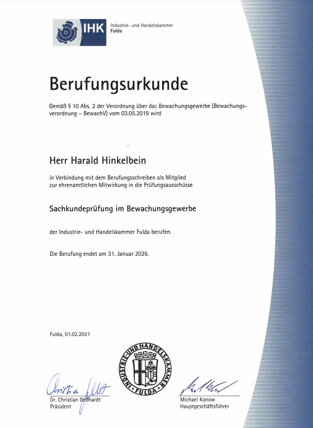 Berufungsurkunde Prüfungsausschüsse Sachkundeprüfung im Bewachungsgewerbe